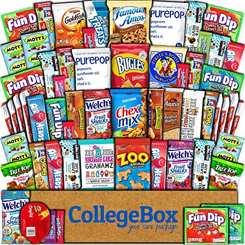 CollegeBox Care Package (60 Count) Snacks Cookies Bars Chips Candy Ultimate Variety Gift Box Pack Assortment Basket Bundle Mixed Bulk Sampler Treats College Finals Students Office Trips Summer -
