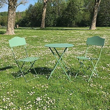chemin_de_campagne Table 2 Chaises de Jardin en Fer Pliable ...