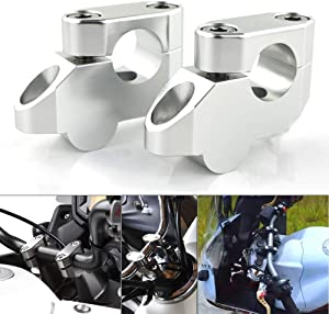 "Xitomer 7/8"" 22mm Motorcycle ATV Dirt Bike Motocross Handlebar Risers With Clamps, Fit for Honda Grom MSX125/ CRF250L, Kawasaki KLR650/ Z125, Suzuki DRZ 400/S, Yamaha FZ1/ FZ8/ FZ16 TT-R230 (Silver)"