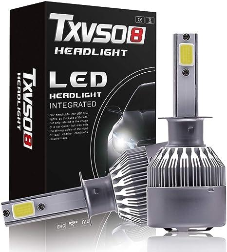 H1 LED Coche, 8000LM Faros Delanteros Bombillas para Moto, Reemplazo de la Luz Halógena, 9-32V, Xenon Blanco 6500K, 2 Lámparas: Amazon.es: Deportes y aire libre