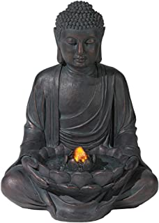 Amazon bits and pieces indoor buddha fountain zen tabletop meditating aged bronze buddha led indooroutdoor fountain workwithnaturefo
