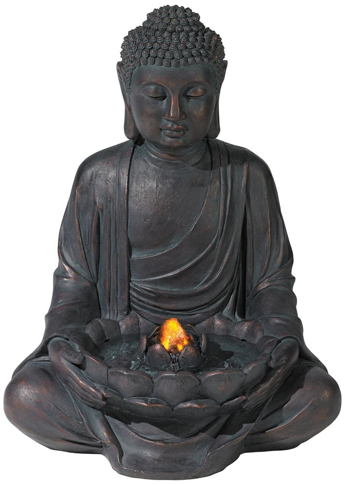 Meditating Aged Bronze Buddha LED Indoor/Outdoor Fountain