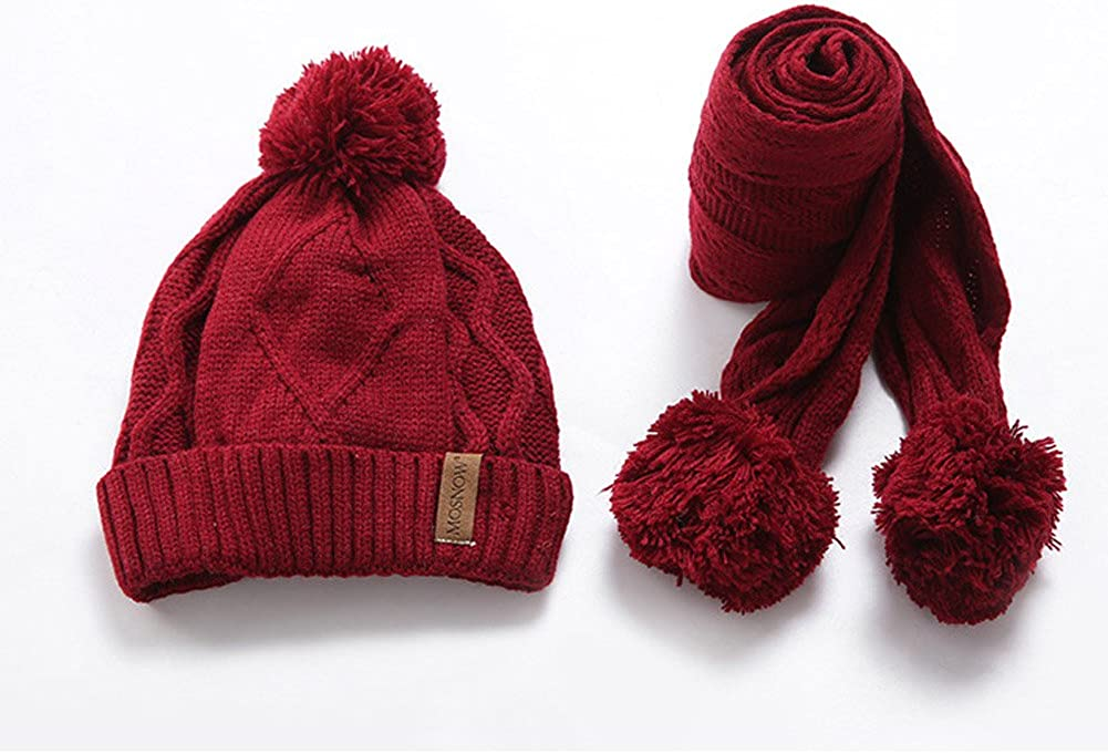 BAOBAO 2Pack Kids Cable Knit Skull Hat Winter Beanie and Warm Scarf with Ball