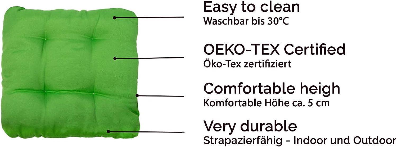 38x38x6 cm Verde Tanti Colori ZOLLNER 4 Cuscini da Sedia per Dentro e Fuori