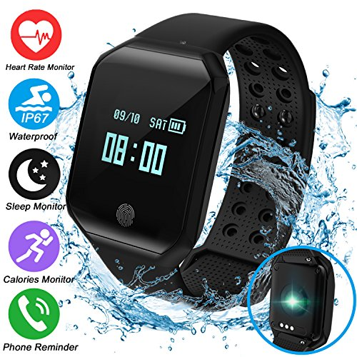 Fitness Tracker Smartwatch with Blood Pressure Heart Rate Monitor Tracker Sports Watch Bracelet for Women Men,IP67 Waterproof Watch Tracker Pedometer Calorie Swim Father Day Gift for Android (Black)