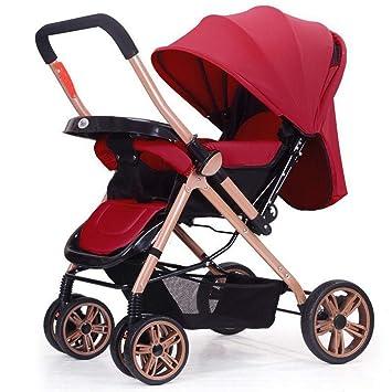 ZYT Carrito De Bebé Ajustable Infantil Cochecito Plegable Paraguas Giratorio 360 ° Rueda Delantera Puede Sentarse