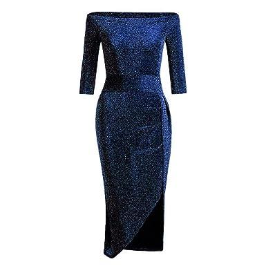 Zottom - Vestido de Mujer con Cuello y Falda Brillante: Amazon.es ...