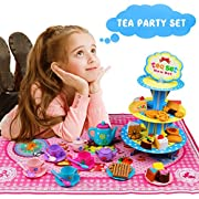 Tea Set Role Play Food Pretend Teapot Party Plastic Toy Set for Boys Girls Children 3 4 5 6 Years Up