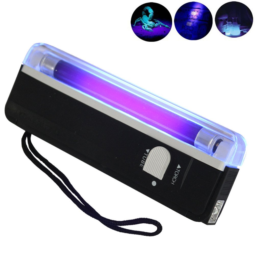 Vickyleb Ultra Violet Mini UV Ultraviolet Flashlight Blacklight Torch Light Lamp For Money Detector,For Dog/Cat Urine,Dry Stains,Skin Care Diagnosis,Matching with Pet Odor Eliminator
