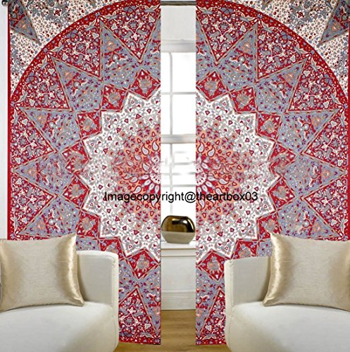 The Art Box Indian Star Mandala Tapestry Window Curtains, Tab Top Curtain, Kitchen Curtains, Living Room Curtains, Drape Treatment Panel Set 52 x 80 Approx.