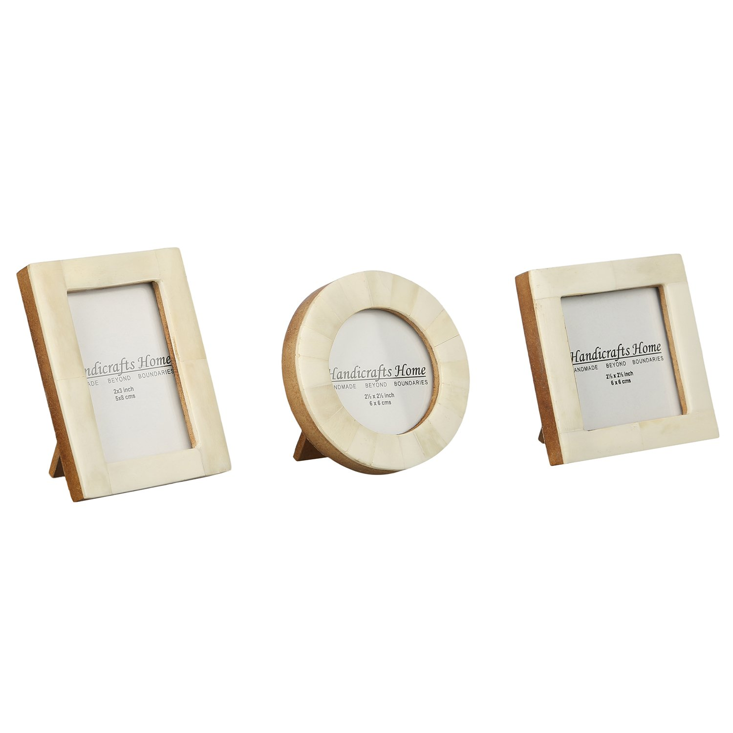 Baby Photo Frame Pure Bone & Mother of Pearl Handmade Natural Picture Frames Set of 3 Pieces (Grey) Handicrafts Home