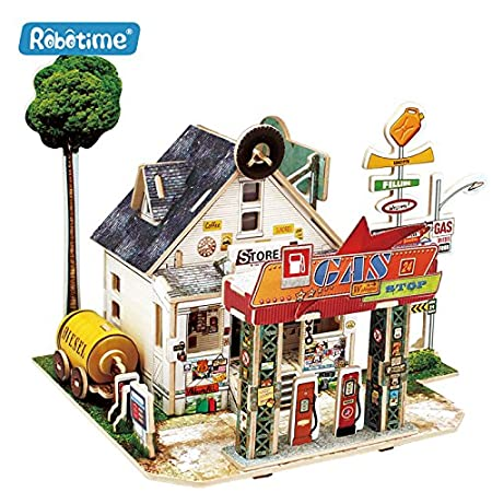 3D Wooden Puzzle, DIY Model Kits, Educational Toys for Kids - Architecture (Gas Station) ROBOTIME
