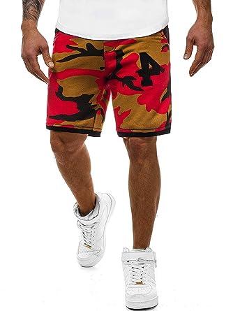 0a45eaa482f582 OZONEE Herren Jogg Freizeitshorts Sportshorts Knielang Kurze Fitness Shorts  Bermuda MECH/2108S ROT-BRAUN