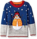 Blizzard Bay Little Boys' Snowman with Hat Xmas Sweater, Blue Combo, 6 L