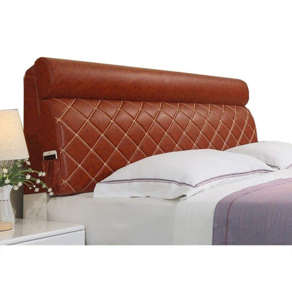 RDMZ Bedside Leather Cushion Removable Bed Cover Solid Wood All-Inclusive Bed Cover Soft Package Tatami Double Pillow Large Backrest (Color : A, Size : 1506012cm)