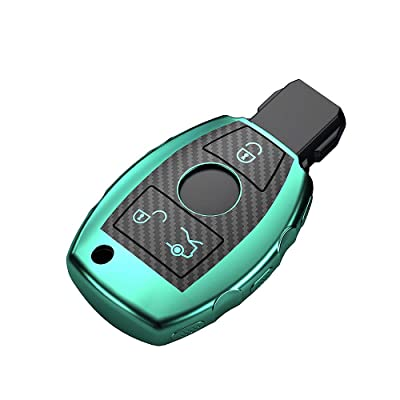 Key case cover keychain for Mercedes Benz AMG A B C E S R M G ML R S SL SLK SLR Class Accessories fob Shell Key Soft TPU Green bag Carbon Fiber Pattern: Automotive