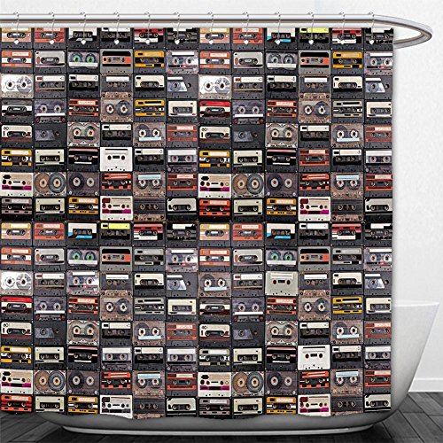 Beshowere Shower Curtain huge collection of audio cassettes retro musical background
