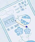 quilt frame kit - Personalized Baby Blanket Unique Shower Gifts Registry Idea for New-born Girls Boys Twins Moms, Customized Receiving Keepsake Item with Special Pen to Write Name Birthday Weight Length (Lady Bug Blue)