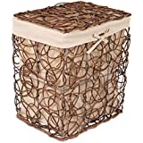 BirdRock Home Decorative Willow Laundry Hamper with Liner | Woven Wooden Laundry Basket | Wicker Reed Frame and Lid | Removable Liner | Dirty Clothes Storage | Brown