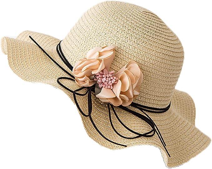 LOPILY Sombrero de Paja Plegable de Viaje para Mujer Sombrero para ...