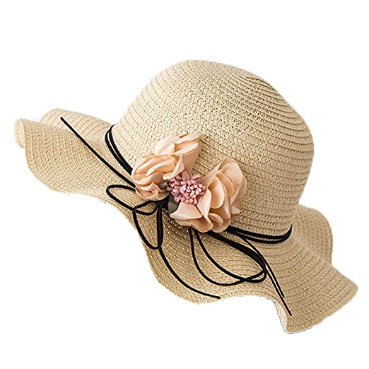 f551587486dbe Yamally Women s Foldable Floppy Hat Big Bowknot Straw Hat Wide Brim Beach  Hat 50+ UPF