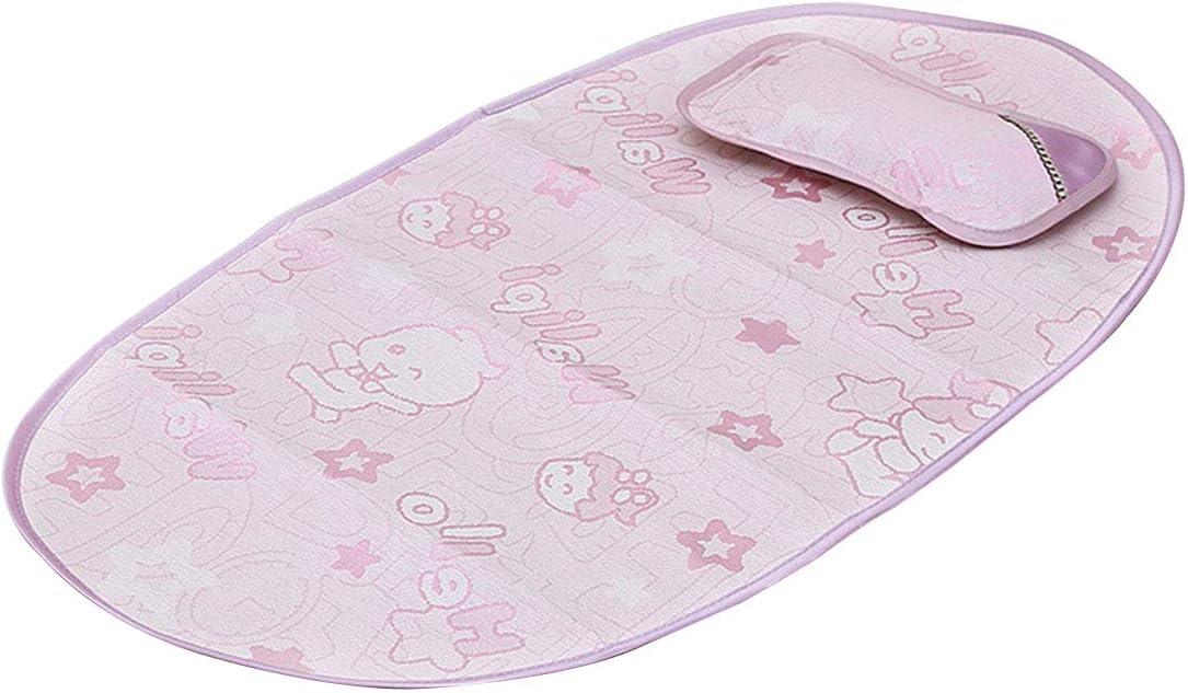 Juego de colch/ón plegable para cuna infantil y almohada de seda de hielo rosa rosa Leyee
