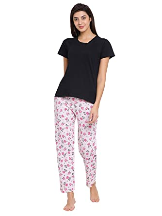 3a69a73fd3f Clovia Women s Cotton Printed Pyjama and T- Shirt Set  (COMBLT089 Multi-Coloured S)  Amazon.in  Clothing   Accessories