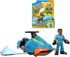 Imaginext Shark Patrol Jet-Ski, Sawfish and Diver 2.5 Inch Figure