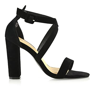 86bb8fd890ff7 ESSEX GLAM Womens High Heel Sandals Ladies Black Faux Suede Strappy Peep  Toe Prom Shoes 5