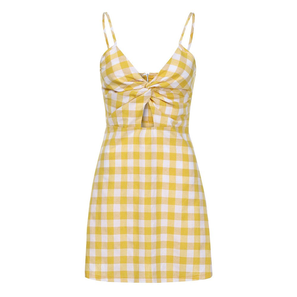Salaks Women Camisole Backless Dress Bow Lattice Sandy Beach Mini Dresses Yellow