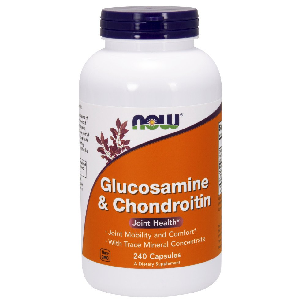 NOW Supplements, Glucosamine & Chondroitin, with Trace Mineral Concentrate and Alfalfa, 240 Capsules