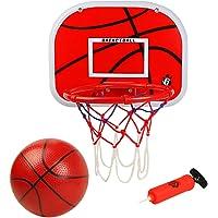 Symiu Panier de Basketball avec Basket-Ball Et Pompe Jante en Métal Hoop Fitness Basket en Plein Air Intérieur Jouet pour Enfant Fille Garcon 3 4 5 Ans