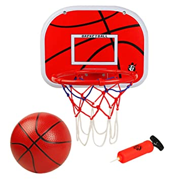 1f5304b6266 Basketball Hoop Indoor Outdoor Sport Games with Net Ball Pump Portable  Basket Set Toys for Kids