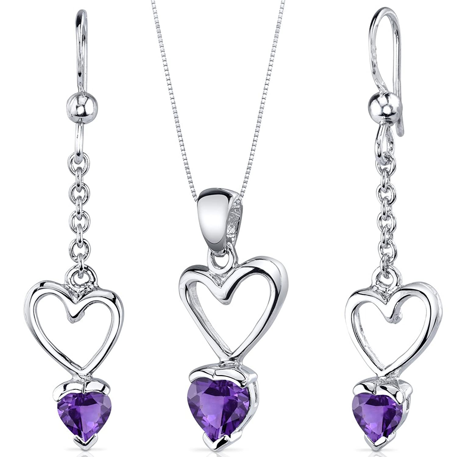 Amethyst Pendant Earrings Necklace Set Sterling Silver Heart Shape 1.75 Carats