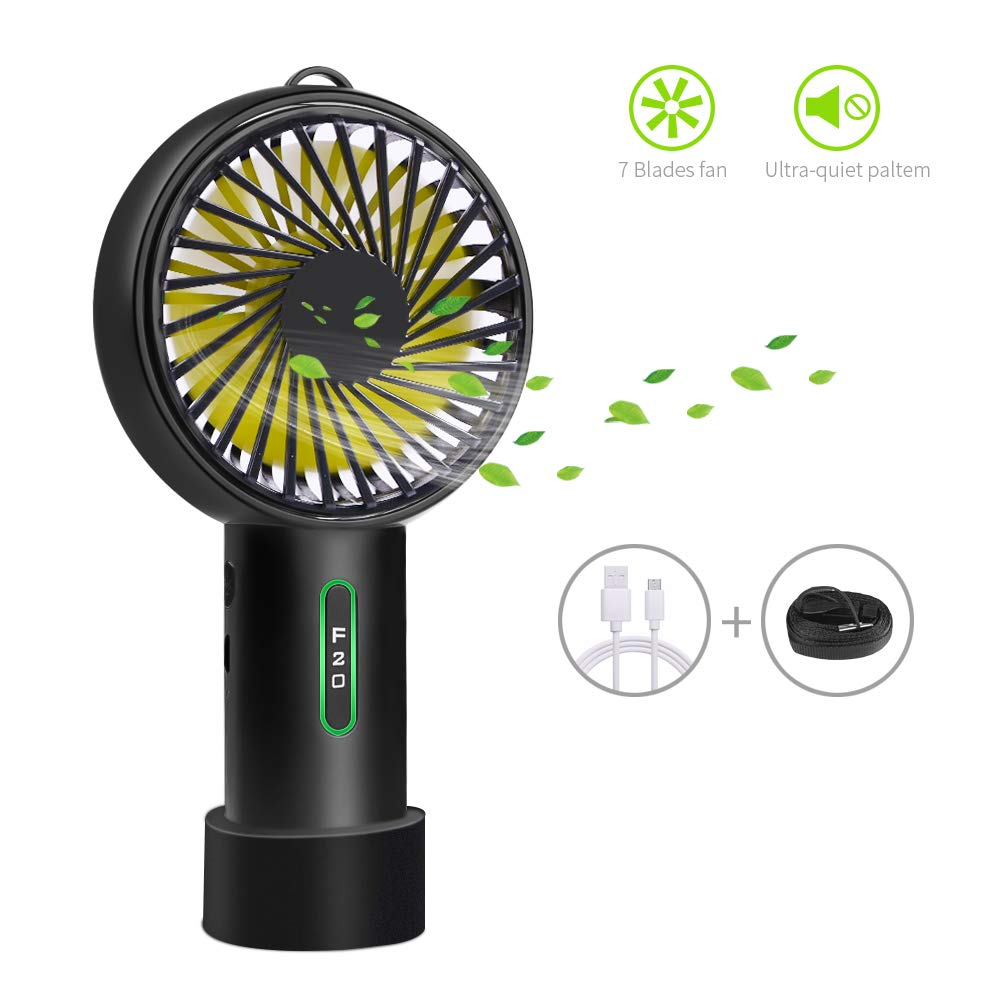 Mini Handhold Fan, l'aise vie 2600mAh Battery Personal Fan USB Rechargeable Electric Fan with Adjustable 3 Speeds Suitable for Home and Travel (Black)