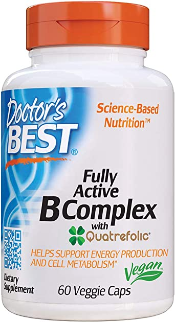Doctor's Best, Fully Active B Complex Supports Energy Nervous System Optimal Health Positive Mood Wellbeing NonGMO Gluten Free Vegan Soy Free, 60 Count