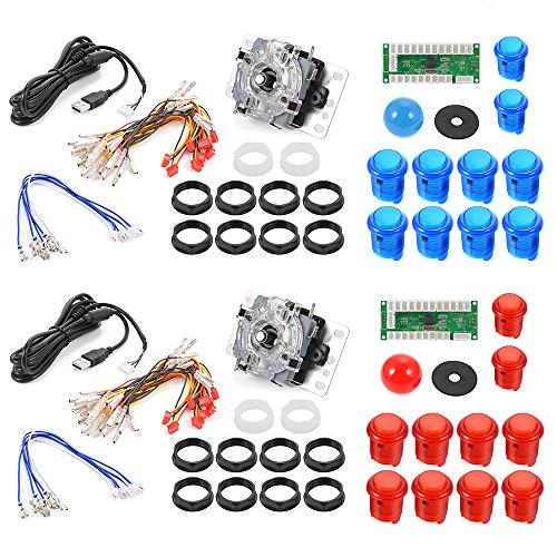 XCSOURCE® 2 Sets Nullverzögerungs Arcade Game USB Encoder PC Joystick DIY Kit für Mame Jamma und andere Kampfspiele AC492