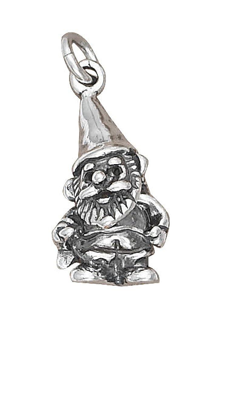 Sterling Silver Mens Unisex 1.5mm Box Chain 3D Garden Gnome Pendant Necklace
