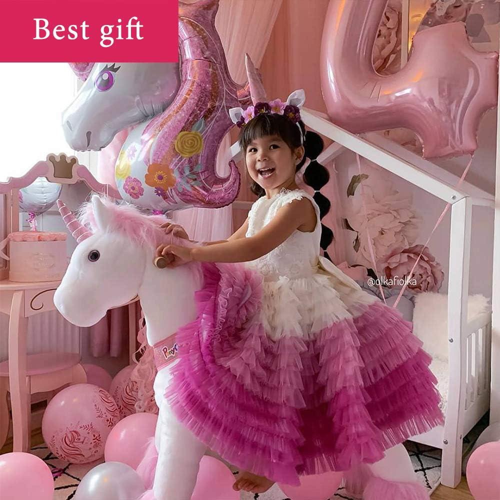 PonyCycle Model U-2021 Ride on White Horse Pink Unicorn Toy Plush Walking Animal Medium Size for Age 4-9 Ux402