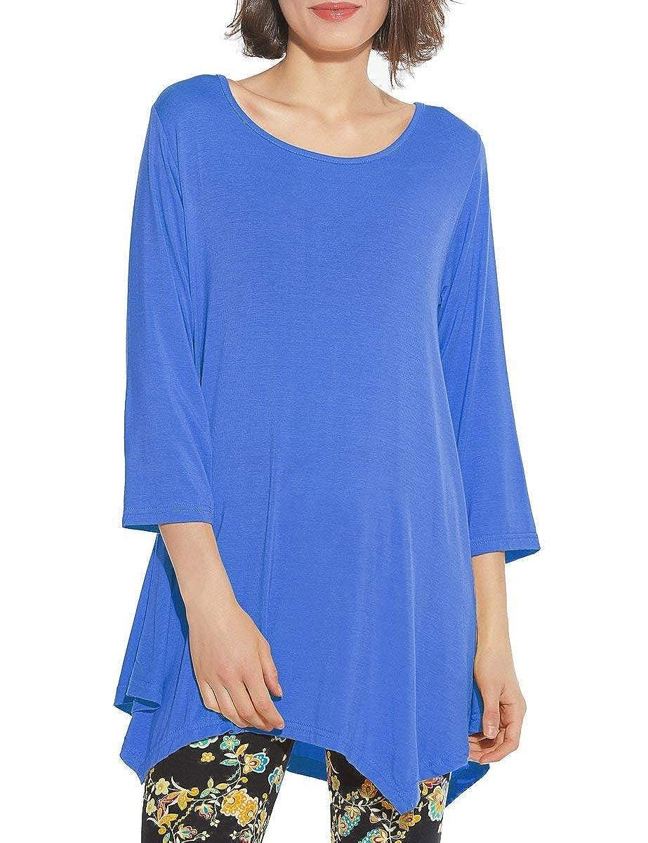 Top Take Women 3/4 Sleeve Swing Tunic Tops Plus Size T Shirt