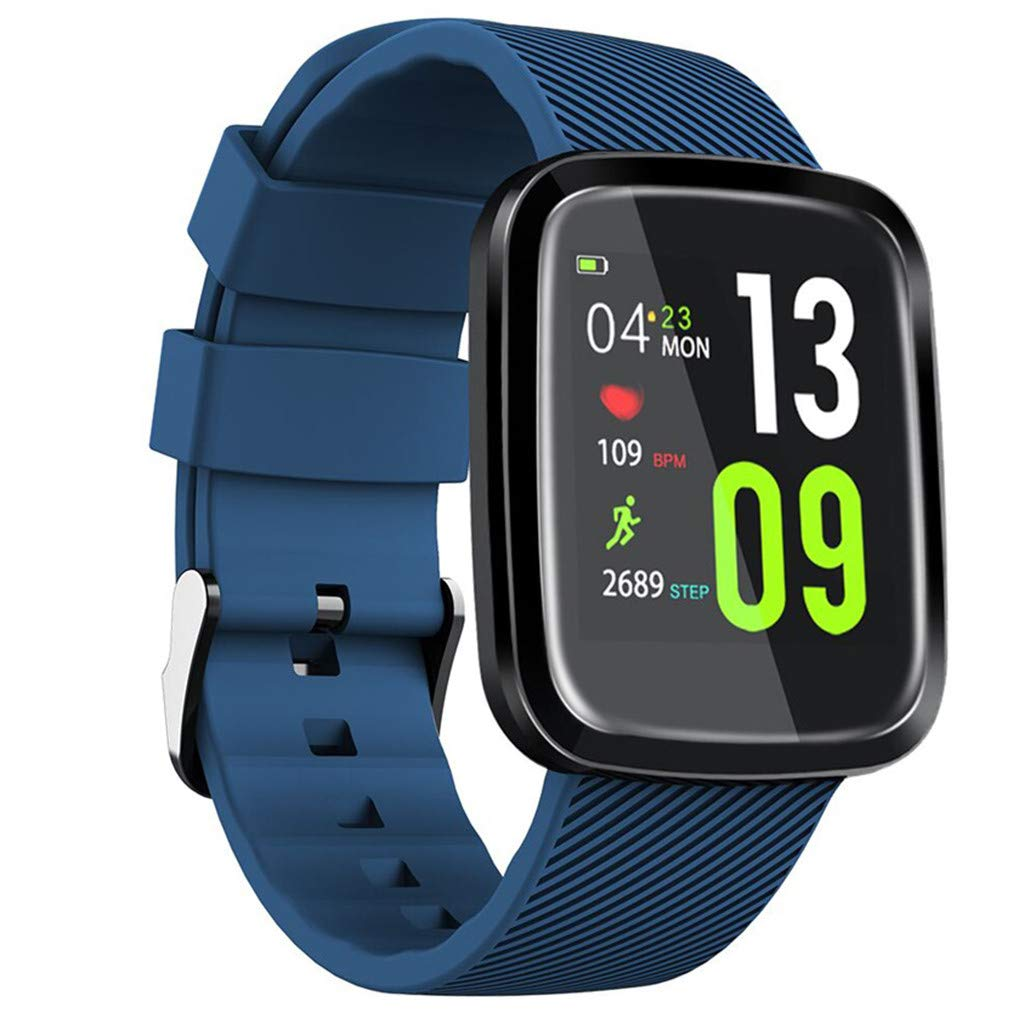 JDgoods Smart Fitness Watch, Color Screen Sport Health Tracker, Activity Tracker with Heart Rate Blood Pressure Calories Pedometer Sleep Monitor Call/SMS Remind for Smartphones Gift (Blue)