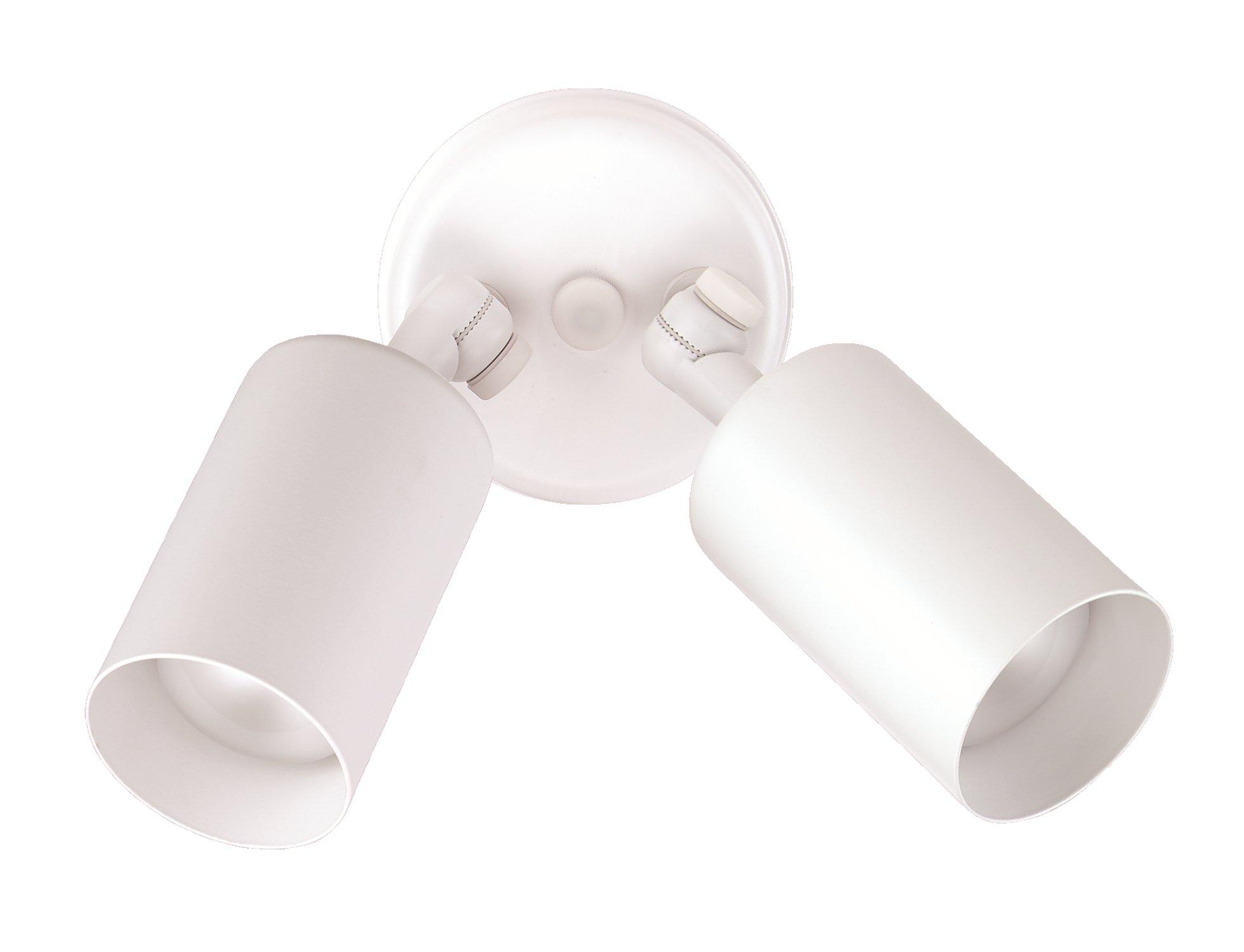 NICOR Lighting 75-Watt Double Bullet Adjustable Flood Light, White (11722)