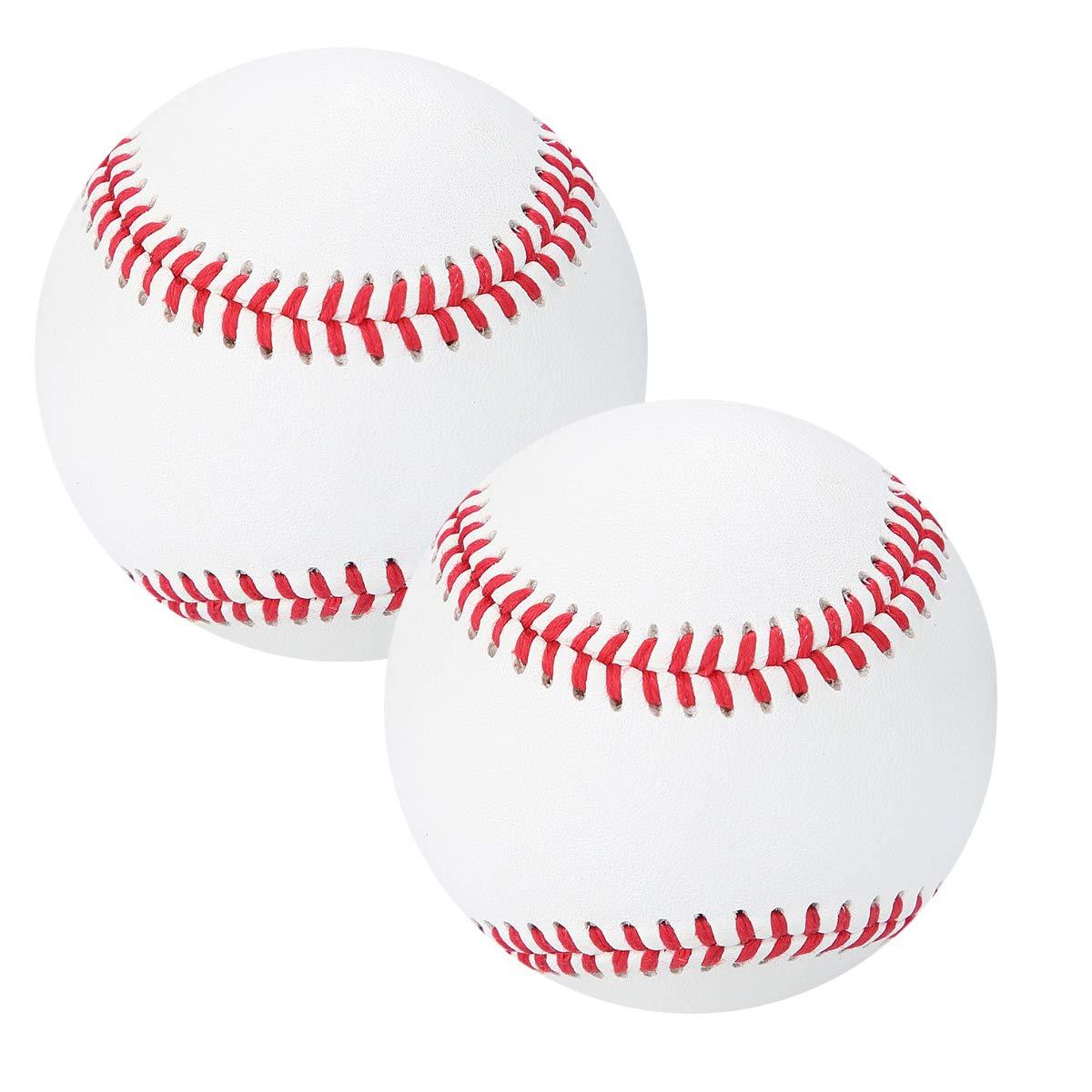 XJSGS 野球ボール 競技グレード ユース野球ボール 公式リーグ レクリエーション用 ベースボール 9インチ サイン入り ベースボール Cレベル ファーストレイヤー 牛革 野球 (2個パック)