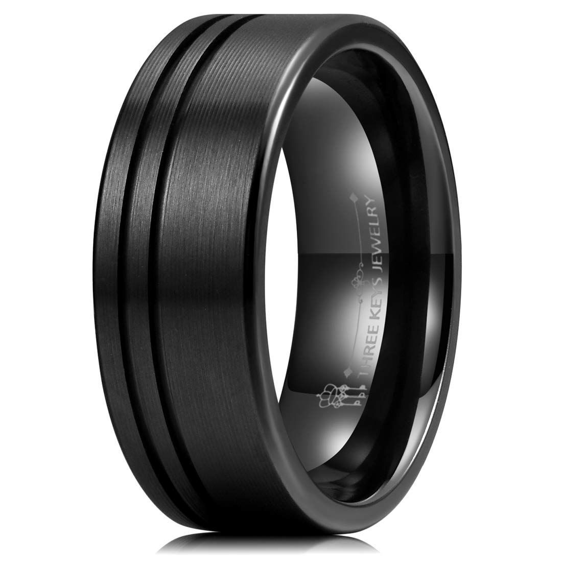 Three Keys Jewelry Mens 8mm Black Zirconium Wedding Band Textured Brushed with 2 Offset Slices Classic Engagement Ring Size 7.5