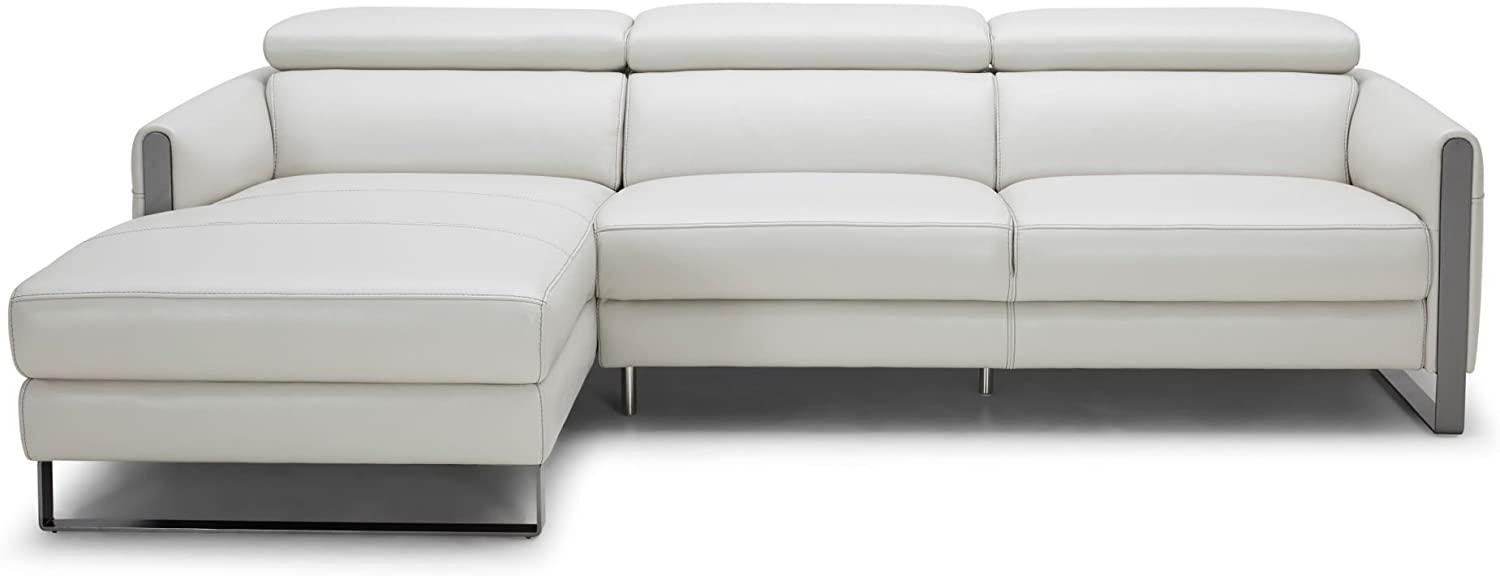 J and M Furniture Vella Premium Leather Sectional In Light Grey