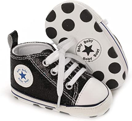 New Baby Toddler Boy Girl Canvas Shoes Walking Comfort Slip-On Elastic Lace