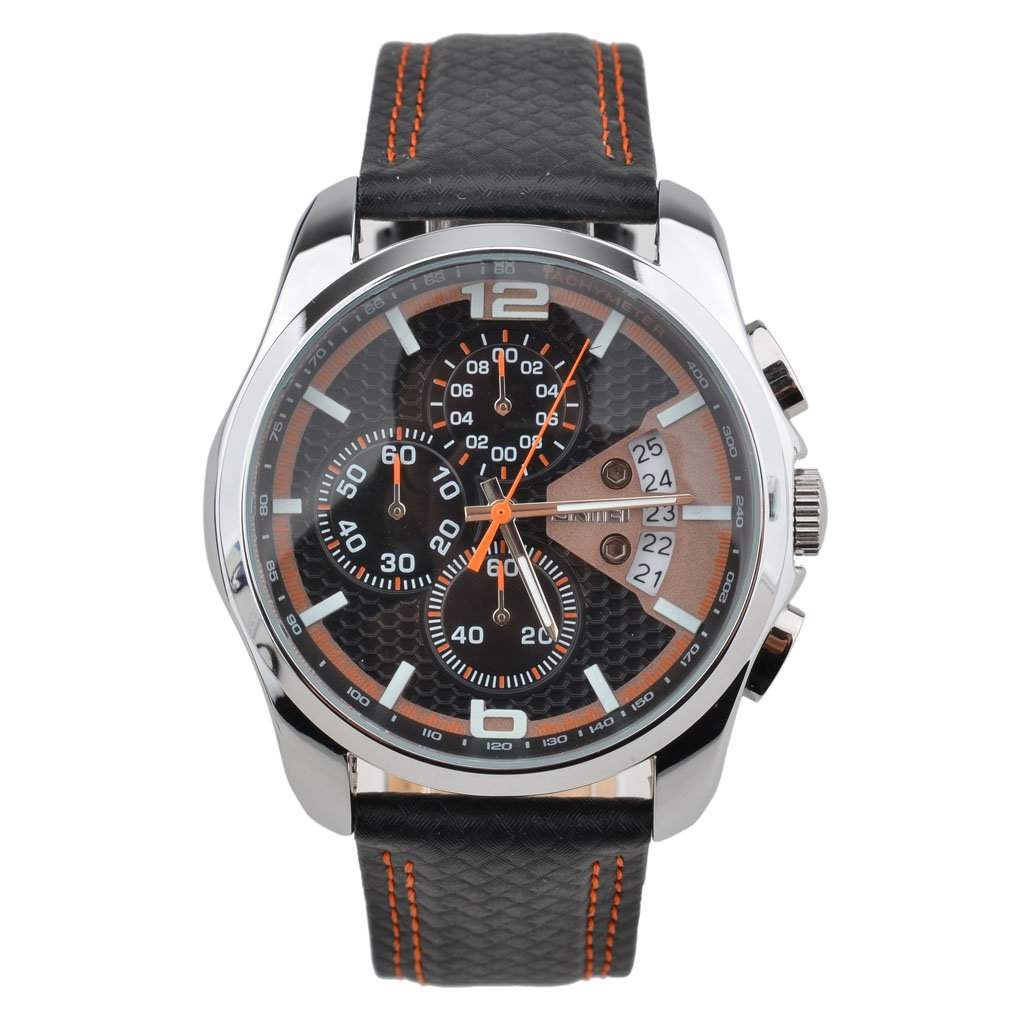 OUMOSI Men\'s Watches Chronograph Leather Quartz Casual Wristwatch (Black and Orange)