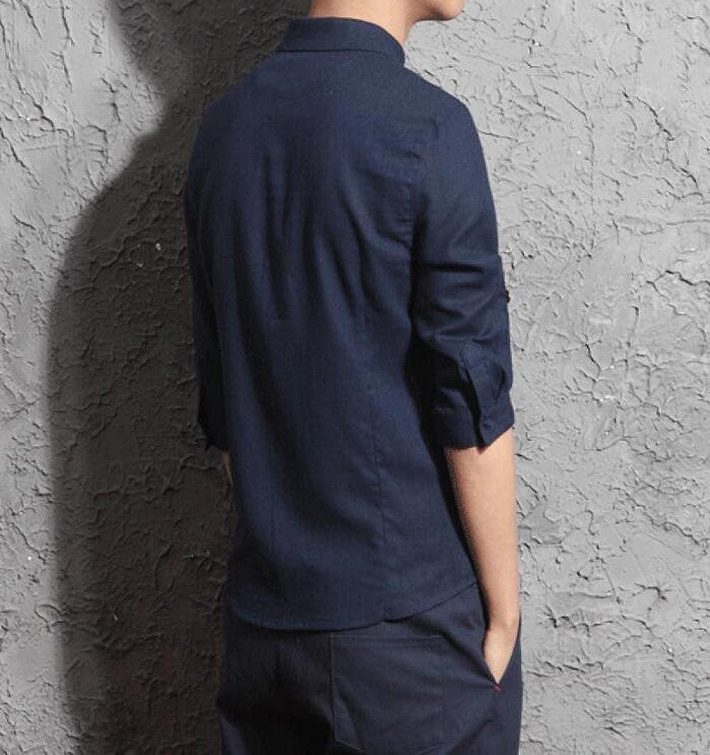 GHGJU Camisas para Hombres Algodón Material Camisas De Moda De Siete Mangas Camisa Cómoda Y Casual: Amazon.es: Ropa y accesorios