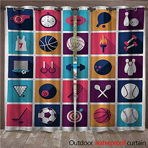BlountDecor Olympics Outdoor Door Curtain Sports Icons Image with Whistle Stopwatch Bowling and Various Types of BallsW120 x L96 Navy Purple -