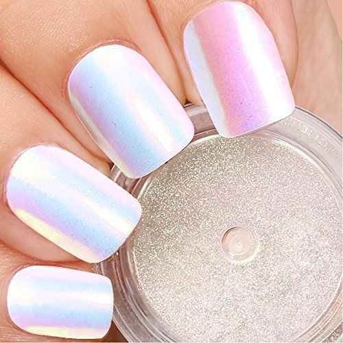 Super Powder White Nail (PrettyDiva Unicorn Nail Powder Mermaid Aurora Pigment Neon Iridescent Powder for Nail Art)